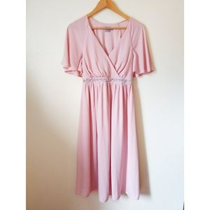 Sale ASOS Pretty Light Pink Butterfly Sleeve Dress
